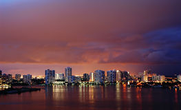 Intercoastal at night. Night view on Aventura from Sunny Isles Beach over Intercoastal Waterway Royalty Free Stock Photo