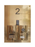Intercom doorbell panel. On stone doorway Royalty Free Stock Image