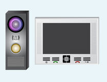Intercom. Video intercom. The monitor and the outdoor panel with a video camera. Royalty Free Stock Photos