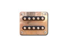 Intercomunicador velho do metal 10 botões Isolado no fundo branco Cl Imagem de Stock Royalty Free
