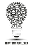 Interconnected black front end technology gears. Composed in form of light bulb to symbolize idea of collaborative work to solve any problem. Use for logotypes Stock Photos