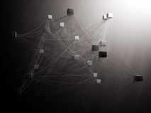 Interconnected cubes. With spiderweb like strings Stock Image