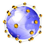 Interconnected earth planet. Concept of interconnected routers around earth Royalty Free Stock Image