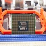 interconnected framtida information om det centrala begreppet microchipen som behandlar processorn som mottar överföra teknologie royaltyfri foto