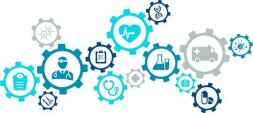 Interconnected health care / medical / e-health concept illustration. Abstract concept in blue/grey color with connected icons showing aspects and tools of Stock Images