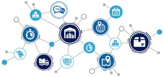 Interconnected logistics / supply chain processes in smart companies - illustration. Abstract concept in blue/grey color with interconnected icons showing vector illustration