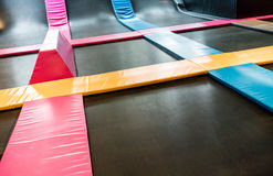 Interconnected trampolines for indoor jumping Stock Photography