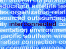 Interconnected Word On Map Showing Global Networks Royalty Free Stock Images