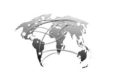 Interconnected world map. Business and travel concept Royalty Free Stock Photos