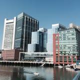 Intercontinentaal Boston gezien van Zeehavenboulevard Royalty-vrije Stock Afbeeldingen