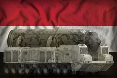 Intercontinental ballistic missile with city camouflage on the Egypt national flag background. 3d Illustration. Intercontinental ballistic missile with city vector illustration