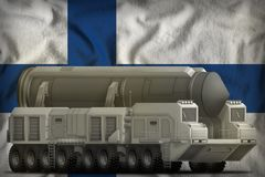 Intercontinental ballistic missile on the Finland national flag background. 3d Illustration. Intercontinental ballistic missile on the Finland flag background Royalty Free Stock Photography