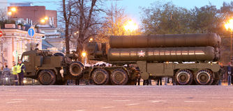 Intercontinental ballistic missile Topol-M. Rehearsal of military parade (at night), Moscow, Russia (on May 04, 2015). Celebration of the 70th anniversary of Stock Images
