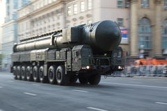 Intercontinental ballistic missile during war parade Royalty Free Stock Photo