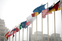 Intercontinental Bucharest flags Royalty Free Stock Photo