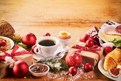 Intercontinental Christmas breakfast spread Royalty Free Stock Images
