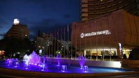 Intercontinental Hotel Bucharest night stock footage