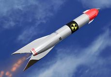 Intercontinental nuclear rocket to the sky Stock Image