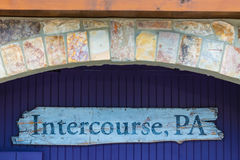Intercourse PA Wood Sign Stock Photography