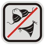 Interdiction de la marche dans des maillots de bain, signe d'interdiction, icône de vecteur Images stock