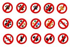 Interdiction paw  symbol signs Royalty Free Stock Photos