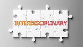 Free Interdisciplinary Complex Like A Puzzle - Pictured As Word Interdisciplinary On A Puzzle To Show That It Can Be Difficult And Royalty Free Stock Photo - 164220505