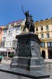 Interdisez le monument de Jelacic sur la place de ville centrale (bana Jelacica de Trg) Images libres de droits