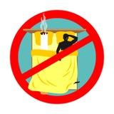 Interdit pour fumer dans le lit Signe rouge interdisant le tabagisme Smo d'interdiction Photographie stock