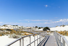 Interdune boardwalk. Inside the White Sands National Monument in New Mexico, USA Stock Photo
