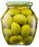 Intere olive verdi nella latta di vetro L'archivio contiene il percorso di ritaglio fotografie stock libere da diritti