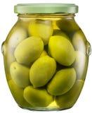 Intere olive verdi nella latta di vetro L'archivio contiene il percorso di ritaglio fotografia stock