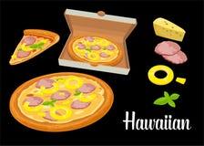 Intere pizza e fette di hawaiano della pizza in scatola bianca aperta Illustrazione piana isolata su fondo nero Per il manifesto, Fotografia Stock