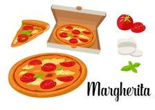 Intere pizza e fette di pizza Margherita in scatola aperta Illustrazione piana isolata su fondo bianco Immagine Stock