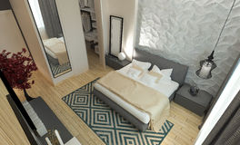 Intereer moderne de chambre à coucher Photo stock