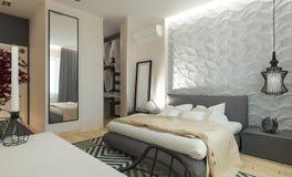 Intereer moderne de chambre à coucher Images stock