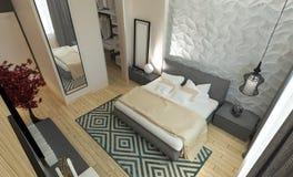 Intereer moderno della camera da letto Fotografia Stock