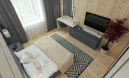 Intereer moderno della camera da letto Fotografie Stock