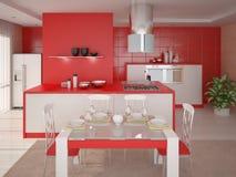 Interer红色厨房 免版税库存图片