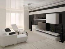 interer живущей комнаты Высок-техника современное Стоковое Изображение