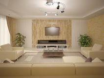 Interer living room with light furniture . Stock Photo