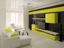 Interer modern livingroom. Royalty Free Stock Photography