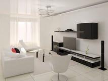 Interer moderne woonkamer Stock Foto's