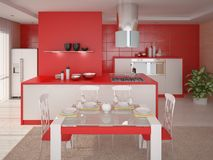 Interer Red Kitchen. Royalty Free Stock Images