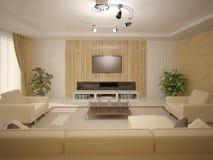 Interer vardagsrum med ljust möblemang Arkivfoto