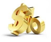 Interes, złociste dolarowego znaka 3d ilustracje ilustracji