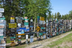 Interessant die bos met geposte tekens wordt gemaakt Stock Afbeelding