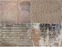 Interessante Collage von Beschaffenheit vier von alten Gipsen Stockfotografie