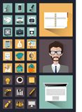 30 interessante Geschäftsikonen im Stil der Ebene Lizenzfreie Stockbilder