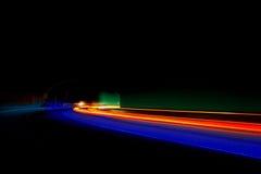 Interessante Leuchten in Rotem, in Blauem, Orange und Grün Stockfotografie