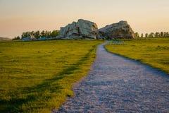 Interessante locatie dichtbij Okotoks, zuidelijke Alberta, Canada royalty-vrije stock afbeeldingen